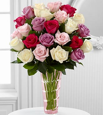 The Mixed Roses Bouquet by FTD® - VASE INCLUDED
