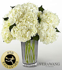 The FTD ® Ivory Hydrangea Bouquet by Vera Wang - VASE INCLUDED