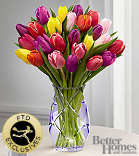 The FTD ® Spring Tulip Bouquet by Better Homes and Gardens ® - VASE INCLUDED
