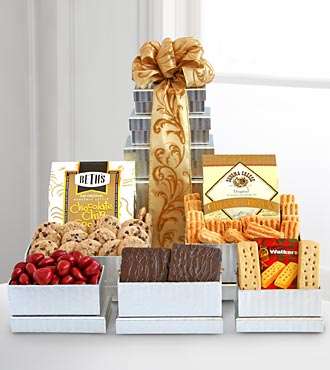 Holiday Giftbasket Shimmering Seasons Gourmet Tower