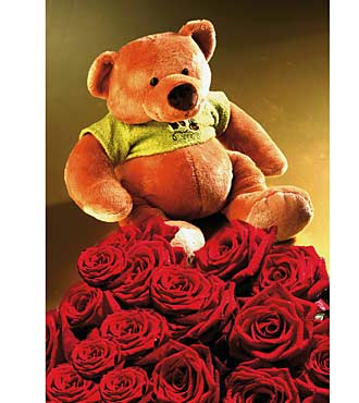 7 Red Roses with Teddy Bear