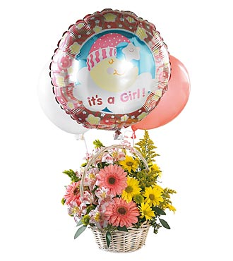 The FTD&reg; Baby Girl Bouquet with Balloons
