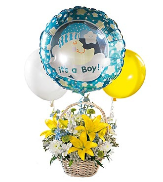 The FTD&reg; Baby Boy Bouquet with Balloons