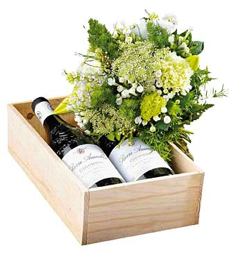 Bouquet of White Flowers with White Wine