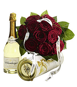 Flowers of Red Roses with Champagne