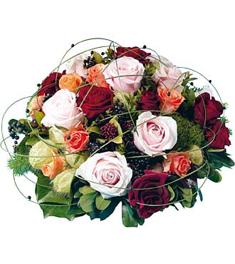 Round Arrangement of Mixed Roses
