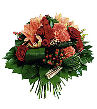 Round Bouquet in Red and Orange