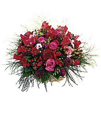 Basket of Mixed Red Flowers