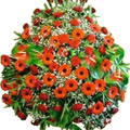 Wreath of Red & Orange Flowers