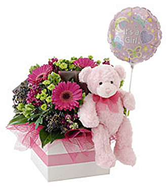 It's A Girl! Flowers, Bear and Balloon