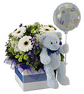 It's A Boy!  Flowers, Bear and Balloon