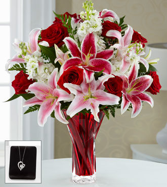 FTD Anniversary Flowers With Pendant - Vase Included