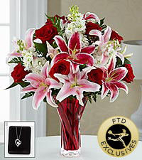 The FTD ® Anniveraary Bouquet with Pendant - VASE INCLUDED