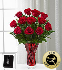 The FTD ® Anniversary Rose Bouquet with Pendant - 12 Stems - VASE INCLUDED