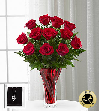 FTD Anniversary Rose Flowers With Pendant - 12 Stems - Vase Included