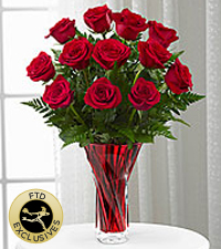 The FTD ® Anniversary Rose Bouquet - 12- Stems - VASE INCLUDED