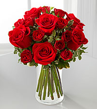 The Red Romance&trade; Rose Bouquet by FTD&reg; - VASE INCLUDED