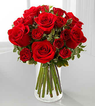 The Red Romance™ Rose Bouquet by FTD® - VASE INCLUDED