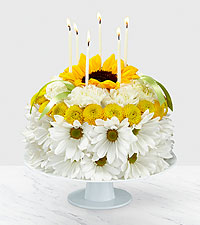 The FTD Birthday Smiles ™ Floral Cake
