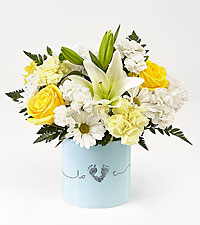 The FTD ® Tiny Miracle™ New Baby Boy Bouquet - VASE INCLUDED