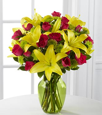 The Sunlit Celebration Birthday Bouquet - 12 Stems - VASE INCLUDED