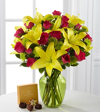 Sunlit Celebration Bouquet with Godiva® Chocolates - 12 Stems - VASE INCLUDED