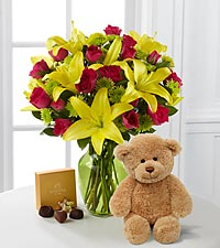 Sunlit Celebration Bouquet with Godiva&reg; Chocolates & Bear - 12 Stems - VASE INCLUDED