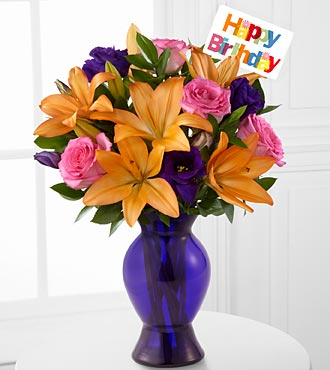 Blooming Birthday Rose & Lily Bouquet - 9 Stems - VASE INCLUDED