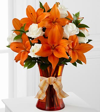 Petal Party Happy Birthday Rose & Lily Bouquet - 10 Stems - VASE INCLUDED