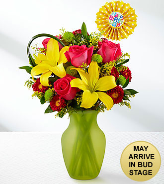 Sweet Celebrations Rose & Lily Birthday Bouquet - 10 Stems - VASE INCLUDED