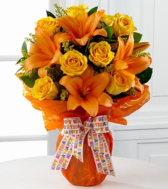 Party Perfect Birthday Bouquet - 13 Stems - VASE INCLUDED