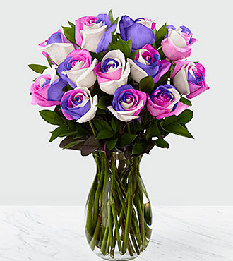 Loving Wishes Fiesta Rose Bouquet - 12 Stems - VASE INCLUDED
