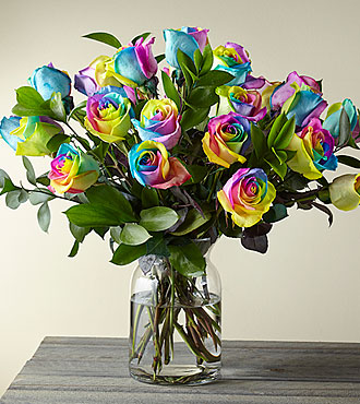 Time to Celebrate Rainbow Rose Bouquet - 24 Stems - VASE INCLUDED- Shown