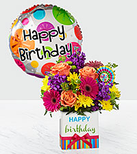 The FTD ® Birthday Brights™ Bouquet-Birthday Balloon and VASE INCLUDED