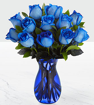 Extreme Blue Hues Fiesta Rose Bouquet