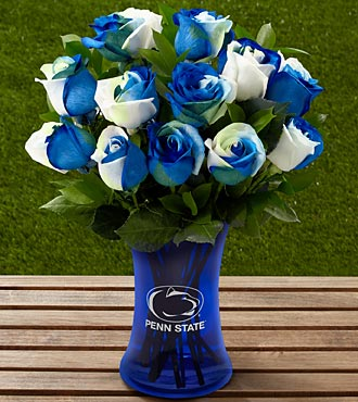 The FTD&reg; Penn State&reg; Nittany Lions&reg; Rose Bouquet - 12 Stems - VASE INCLUDED