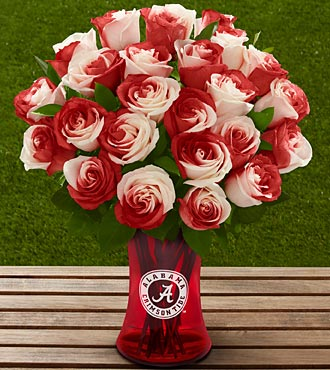 The FTD&reg; University of Alabama&reg; Crimson Tide&reg; Rose Bouquet - 24 Stems - VASE INCLUDED