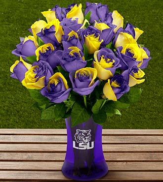 The FTD&reg; Louisiana State University&reg; Tigers&trade; Rose Bouquet - 24 Stems - VASE INCLUDED