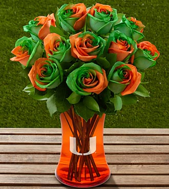 The FTD® University of Miami Hurricanes® Rose Bouquet - 12 Stems - VASE INCLUDED