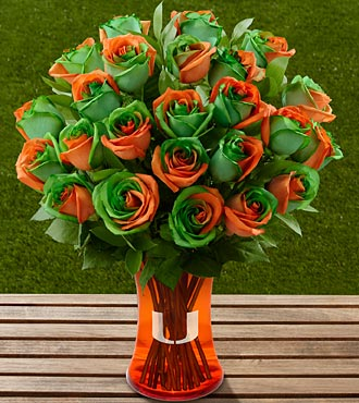 The FTD&reg; University of Miami Hurricanes&reg; Rose Bouquet - 24 Stems - VASE INCLUDED
