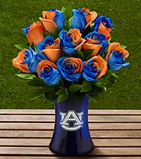 The FTD ® Auburn University ® Tigers ® Rose Bouquet - 12 Stems - VASE INCLUDED
