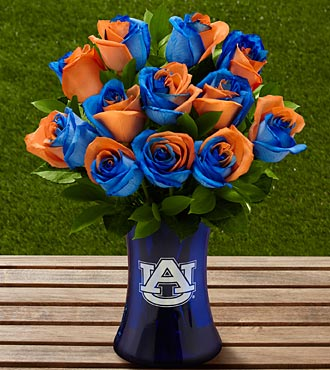 The FTD&reg; Auburn University&reg; Tigers&reg; Rose Bouquet - 12 Stems - VASE INCLUDED