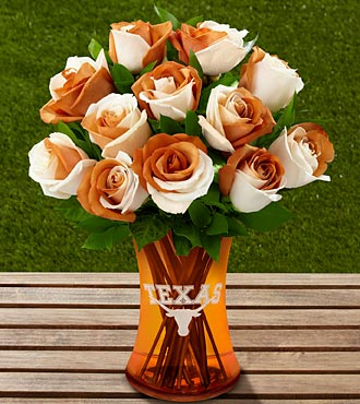 The FTD® University of Texas® Longhorns® Rose Bouquet - 12 Stems - VASE INCLUDED