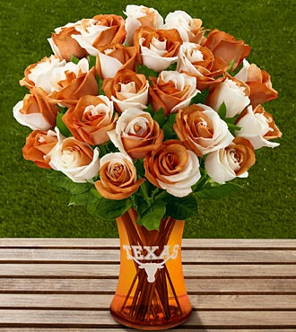 The FTD® University of Texas® Longhorns® Rose Bouquet - 24 Stems - VASE INCLUDED