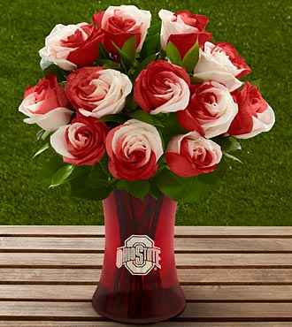 The FTD&reg; Ohio State University&reg; Buckeyes&reg; Rose Bouquet - 12 Stems - VASE INCLUDED