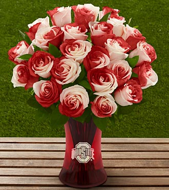The FTD&reg; Ohio State University&reg; Buckeyes&reg; Rose Bouquet - 24 Stems - VASE INCLUDED