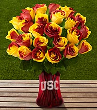 The FTD&reg; University of Southern California&reg; Trojans&reg; Rose Bouquet-24 Stems-VASE INCLUDED