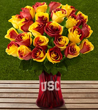 The FTD® University of Southern California® Trojans® Rose Bouquet-24 Stems-VASE INCLUDED