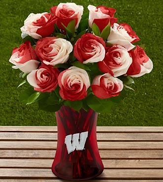 The FTD&reg; University of Wisconsin Badgers&trade; Rose Bouquet - 12 Stems - VASE INCLUDED