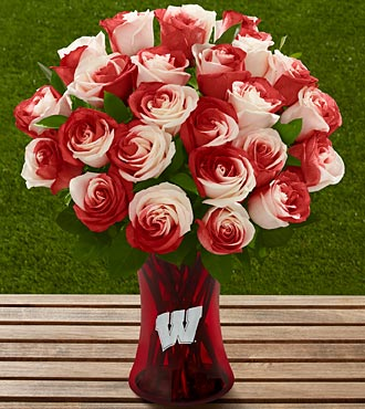 The FTD® University of Wisconsin Badgers™ Rose Bouquet - 24 Stems - VASE INCLUDED